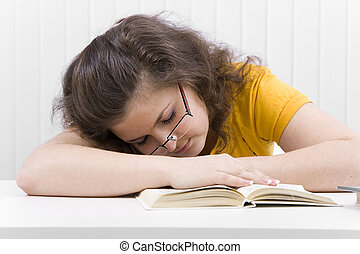 The tired student