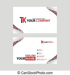 The TK logo on the red black business card with a modern design is horizontal and clean. and transparent decoration on the edges.