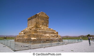 The Tomb of Cyrus in Iran - A steady wide shot of the Tomb...