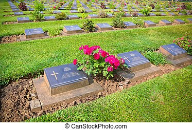 The tombstones of Kanchanaburi National Cemetery