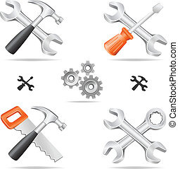 tools icon set - The tools icon set cross with each other ...