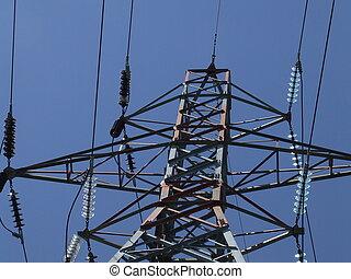 electrical pylon - the top of an electrical pylon