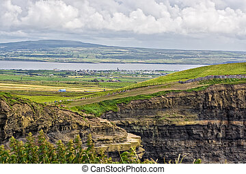 The top of the Cliffs of Moher in Ireland with a river and valley behind them