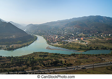 The Top View Of Mtskheta, Georgia, The Old Town Lies At The...