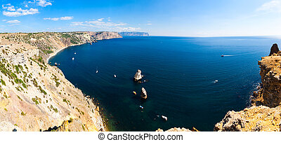 The top view on the sea and rocks of the cape Fiolent