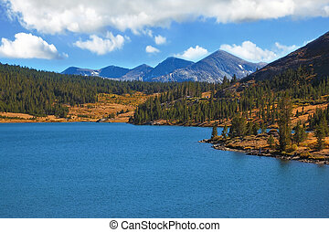 The tops of mountains and azure lake