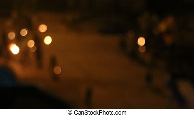 The torchlight procession on the night street