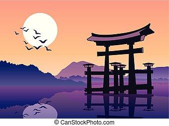 The Torii famous landmark of Japan,silhouette style,vector...