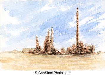 The Totem Pole. Monument Valley, Arizona-Utah border, USA.