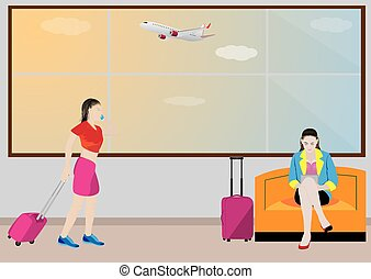 the tourist at airport vector design