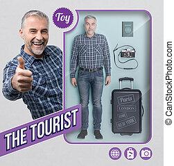 The tourist lifelike doll