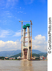 The tower of cable-stayed bridge under construction