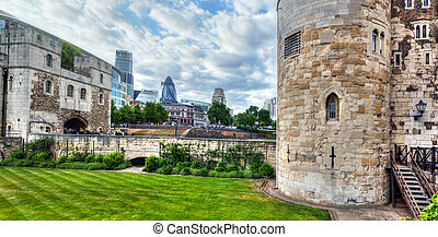 The Tower of London and the city district with Gherkin...