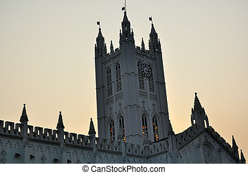 The Tower of St. Paul's Cathedral at Calcutta during dusk