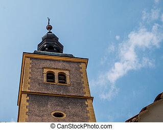 The tower of the church of st. John the Baptist. Varazdin, Croatia