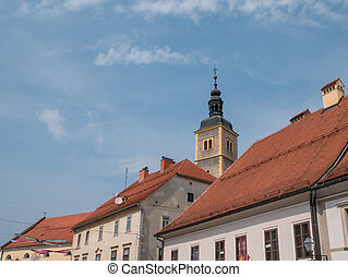 The tower of the church of st. John the Baptist. Varazdin, Croatia
