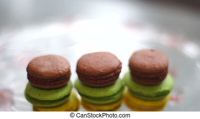 the towers of colored macaroon cookies