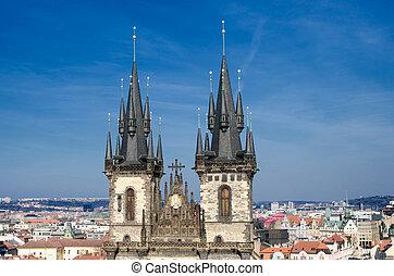 The towers of Virgin Mary Before Tyn Church, Prague