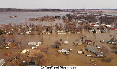 The Town of Pacific Junction Iowa is completely Submerged in...