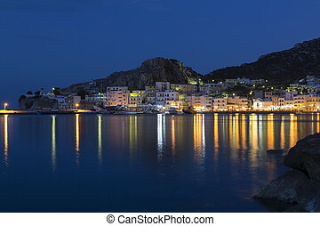 The town of Pigadia on Karpathos, Greece, at night