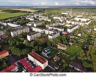 The town of Volosovo, Leningrad Region, Russia. Aerial photo on a sunny summer day.