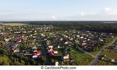 The town of Volosovo, Leningrad Region, Russia. Aerial video on a sunny summer day.