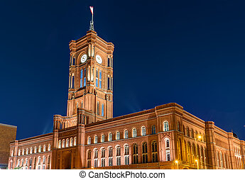 The townhall of Berlin at night - The townhall Rotes Rathaus...