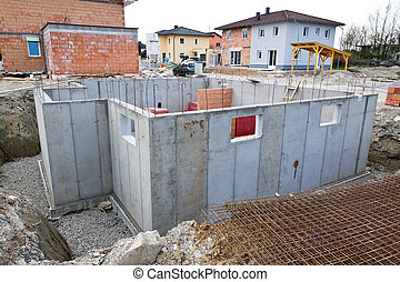 Townhouses of a residential house. Basement for family home.