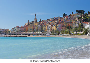 The townscape of Menton. - Menton, situated on the French...