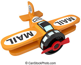 toy plane a - The toy plane a symbol of e-mail isolated