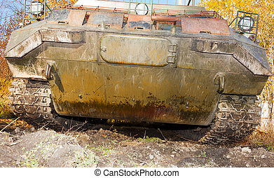 The tracked vehicle for transportation of soldiers. front view