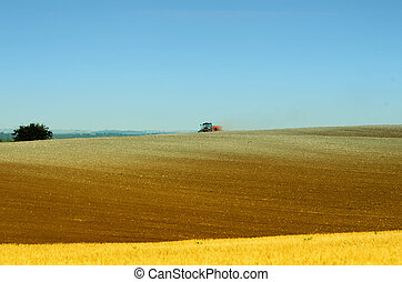 the tractor in the fields