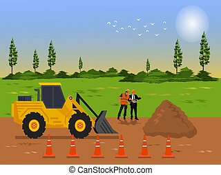 The tractor is grading to make the road. Two  construction supervisor are working on the road. with  fields and sky in the background
