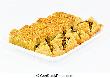 The traditional Middle Eastern dessert. Baklawa with nuts.