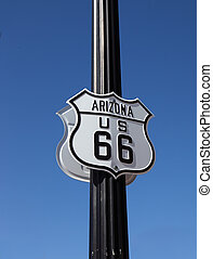 The traffic sign in Arisona, Historic route 66