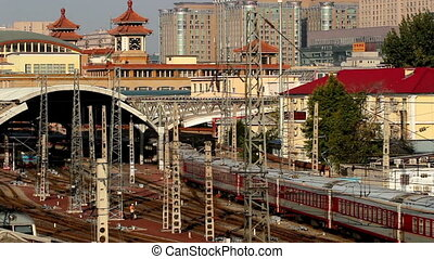The train depart slowly in morning. - The traditional train...