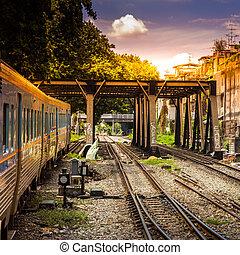 The train goes on railway bridge