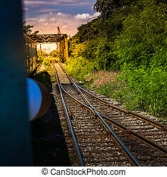 The train goes on railway bridge