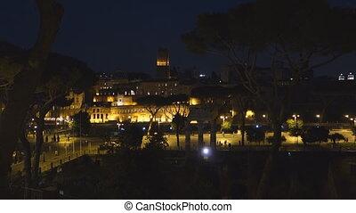 Trajan Forum - The Trajan Forum at night. Rome, Italy