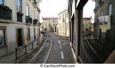 The tram number route in Lisbon - Shot of The tram number...
