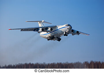 The transport plane in flight