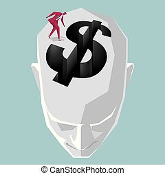 The trap of the dollar sign is on the top of the person's head,A businessman stands on top of head.