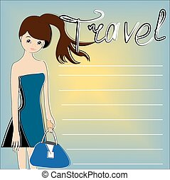 The traveller on a blue background with a yellow sun,