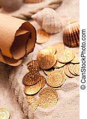 treasure map and golden coins - the treasure map and golden...
