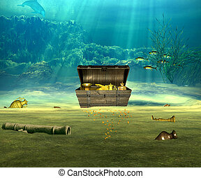 The treasure. - The treasure chest with valuable objects ...