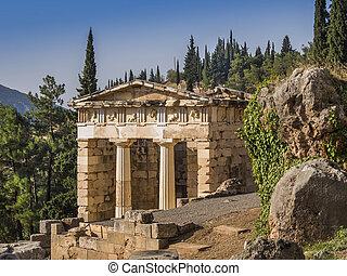 The treasury at Delphi, Greece