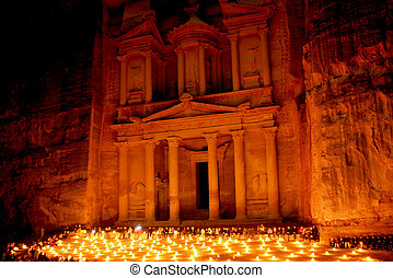 The treasury at Petra by night, Lost rock city of Jordan. -...