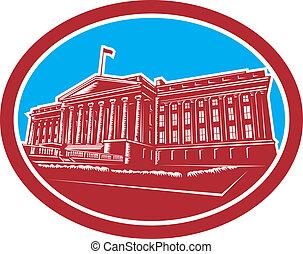 The Treasury Building Washington DC Woodcut Retro - ...
