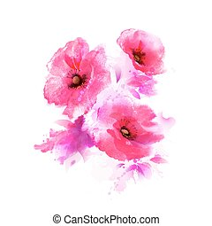 The tree flowering pink poppies. Abstract watercolor drawing.