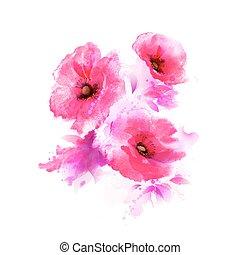 flowering pink poppies - The tree flowering pink poppies....